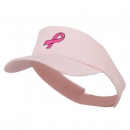 Hot Pink Ribbon Breast Cancer Embroidered Visor - Pink