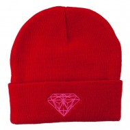 Hot Pink Diamond Embroidered Long Cuff Beanie - Red
