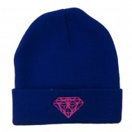 Hot Pink Diamond Embroidered Long Cuff Beanie - Royal