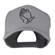Praying Hands Embroidered Cap - Grey