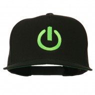 Power Icon Embroidered Snapback Cap - Black