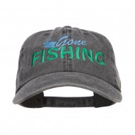 Gone Fishing Embroidered Washed Cap - Black