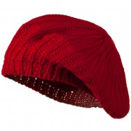 Plain Knit Beret - Red