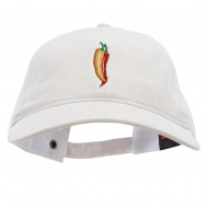 Red Orange Pepper Embroidered Washed Solid Pigment Dyed Cotton Twill Brass Buckle Cap - White