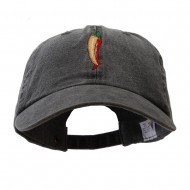 Red Orange Pepper Embroidered Washed Solid Pigment Dyed Cotton Twill Brass Buckle Cap - Black