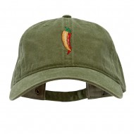 Red Orange Pepper Embroidered Washed Solid Pigment Dyed Cotton Twill Brass Buckle Cap - Olive