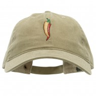 Red Orange Pepper Embroidered Washed Solid Pigment Dyed Cotton Twill Brass Buckle Cap - Khaki