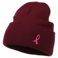 Pink Ribbon Breast Cancer Embroidered Long Beanie - Burgundy