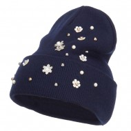 Snowflake Pearls Accented Cuff Beanie - Navy