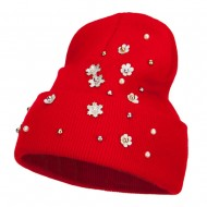 Snowflake Pearls Accented Cuff Beanie - Red