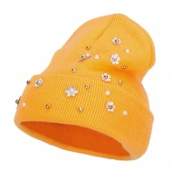 Snowflake Pearls Accented Cuff Beanie - Yellow