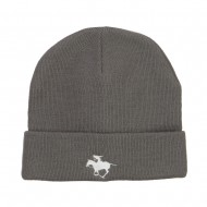 Polo Player Sports Embroidered Big Beanie - Grey