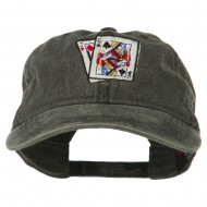 Gaming Pinochle Embroidered Washed Cap - Black