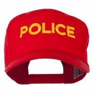 Police Letter Embroidered High Profile Cap - Red