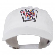 Gaming Pinochle Embroidered Washed Cap - White