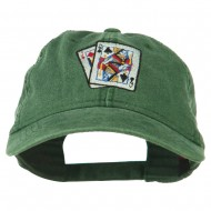 Gaming Pinochle Embroidered Washed Cap - Dark Green