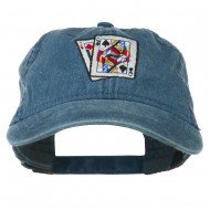 Gaming Pinochle Embroidered Washed Cap - Navy