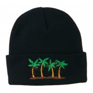 Palm Trees Christmas Lights Embroidered Beanie - Navy