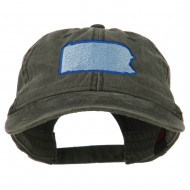 Pennsylvania State Map Embroidered Washed Cotton Cap - Black