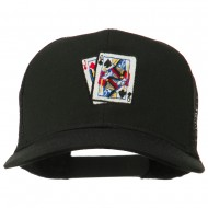 Gaming Pinochle Embroidered Mesh Cap - Black