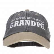 Not Retired Promoted Grandpa Embroidered Cap - Black Khaki