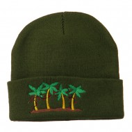 Palm Trees Christmas Lights Embroidered Beanie - Olive