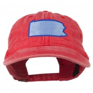 Pennsylvania State Map Embroidered Washed Cotton Cap - Red