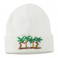Palm Trees Christmas Lights Embroidered Beanie - White