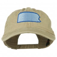 Pennsylvania State Map Embroidered Washed Cotton Cap - Khaki