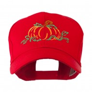 Halloween Pumpkin Outline Embroidered Cap - Red