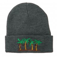 Palm Trees Christmas Lights Embroidered Beanie - Grey