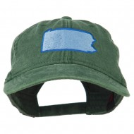 Pennsylvania State Map Embroidered Washed Cotton Cap - Dark Green