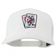 Gaming Pinochle Embroidered Mesh Cap - White