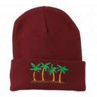 Palm Trees Christmas Lights Embroidered Beanie - Maroon