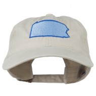 Pennsylvania State Map Embroidered Washed Cotton Cap - Stone