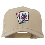 Gaming Pinochle Embroidered Mesh Cap - Khaki