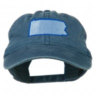 Pennsylvania State Map Embroidered Washed Cotton Cap - Navy