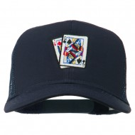 Gaming Pinochle Embroidered Mesh Cap - Navy