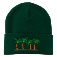 Palm Trees Christmas Lights Embroidered Beanie - Green