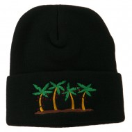 Palm Trees Christmas Lights Embroidered Beanie - Black