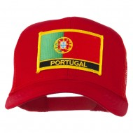 Portugal Country Patched Mesh Back Cap - Red