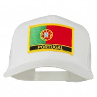 Portugal Country Patched Mesh Back Cap - White