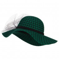 Houndstooth Wool Felt Hat with Net - Green