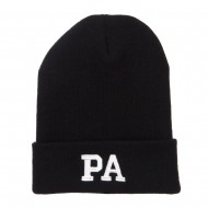PA Pennsylvania State Embroidered Long Beanie - Black