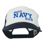 Proud Navy Dad Embroidered Foam Mesh Cap - Royal White