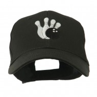 Bowling Ball with 4 Pins Embroidered Cap - Black