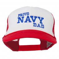 Proud Navy Dad Embroidered Foam Mesh Cap - Red White Red