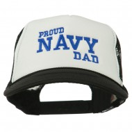 Proud Navy Dad Embroidered Foam Mesh Cap - Black White