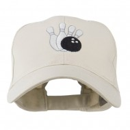 Bowling Ball with 4 Pins Embroidered Cap - Stone