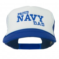 Proud Navy Dad Embroidered Foam Mesh Cap - Navy White